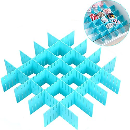 ZZ Lighting 8 Pcs Plastic DIY Grid Drawer Divider Finishing Shelves for Home Tidy Closet Makeup Socks Underwear Kitchenware Blue