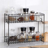 NEX 2 Tier Standing Rack Jars Bottle Spice Rack Countertop Storage Organizer for Kitchen Bathroom Home Brown