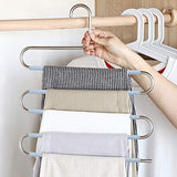 Products doiown s type stainless steel clothes pants hangers closet storage organizer for pants jeans scarf hanging 14 17 x 14 96ins set of 3 5 pieces light blueupgrade style