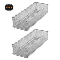 YBM HOME Silver Mesh Drawer Cabinet and or Shelf Organizer Bins, School Supply Holder Office Desktop Organizer Basket 1593s-2 (2, 3x9x2 Inch)