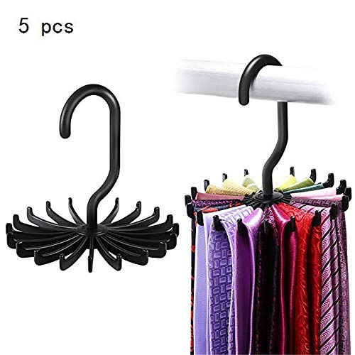 Zhao Xiemao 5 Pcs Updated Twirl Tie Rack Belt Hanger Holder Hook for Closet Organizer Storage. (Color : Black)