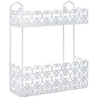 MyGift Wall-Mounted 2 Tier Shelf Rack for Kitchen Spices/Bathroom Product Holder, White