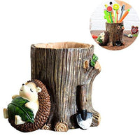 Desk Pen Holder Cute Cartoon Little Hedgehog Resin Pen Holder Vase Pencil Pot Desktop Storage Case Office Desk Organizer