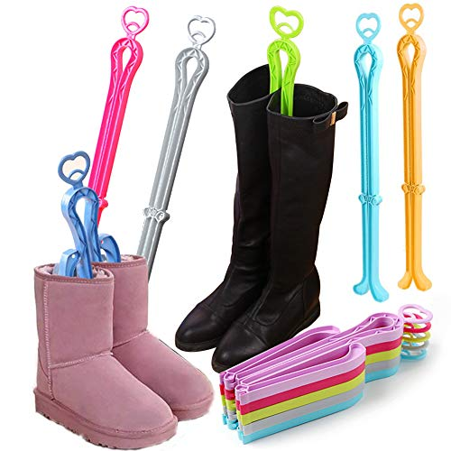 Folding Boot Shaper, Plastic Long Boots Shaper Stands Boots Knee Boot Rack, 6PCS, Random Colors