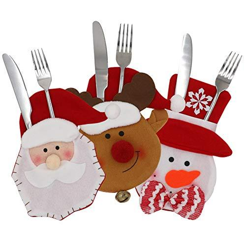 Wmbetter Christmas Cutlery Sets/Gift Bag/Tableware Holders/Silverware Holder Pockets for Christmas Table Decoration Set of 3(Snowman,Santa,Elk Style)