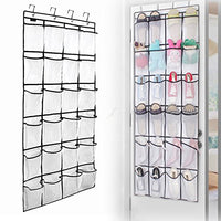 wsryx Over The Door Shoe Organizer, 24 Large Mesh Pockets Hanging Shoe Storage, Heavy Duty Tidy Rack (White)