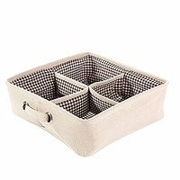 Yiuswoy Cotton Linen Drawer Organizer Divider Closet Organizer Drawers for Underwear, Bras, Socks, Ties, Scarves - 4 Cell & Khaki