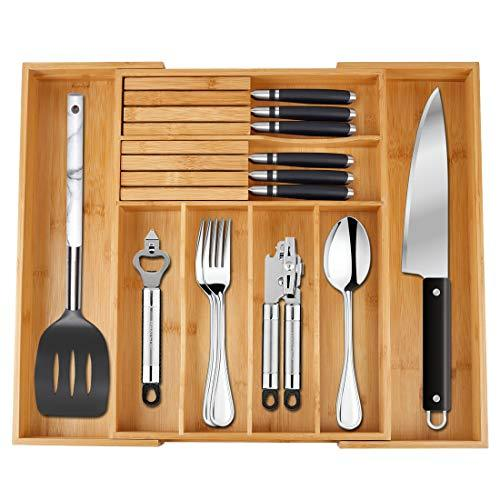 Utensil Drawer Organizer Bamboo Flatware Organizer Expandable Kitchen Silverware Organizer Cutlery Tray with 2 Removable Knife Blocks 8 Compartments Kitchen Tray for Utensil,Cutlery, Flatware,Silver