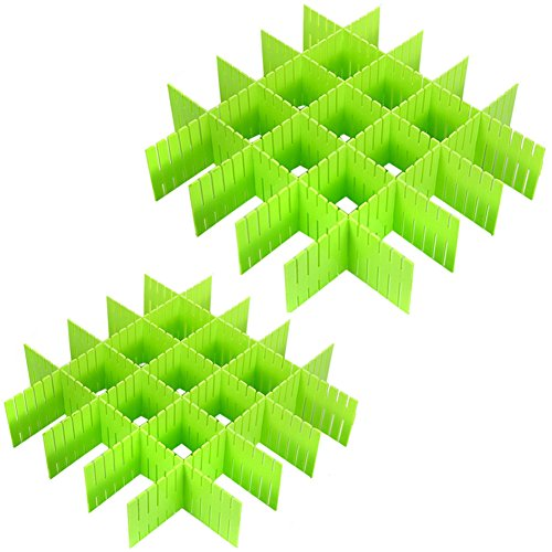 ZZ Lighting 16 Pcs Plastic DIY Grid Drawer Divider Finishing Shelves for Home Tidy Closet Makeup Socks Underwear Kitchenware Green