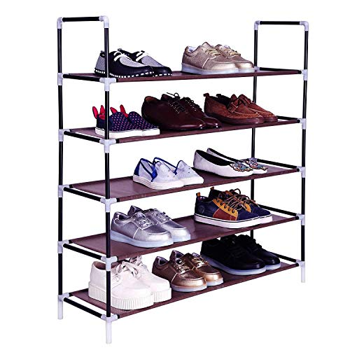 Wegi King Shoe Shelf with Non-Woven Fabric,Shoe Rack Shoe Storage Shoe Closet Shoe Hanger Holder Stand for Home Office Entryway(5 Tiers-Black)