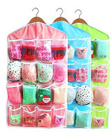 16-Pocket Hanging Closet Organizer Jewelry And Accessories Organizer, Bra Underwear Socks Ties Hanging Organizer,Shower Caddies Random Color Vinyl