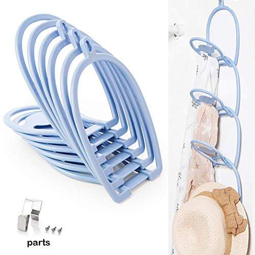 Xemz Baseball Cap Holder, Door or Wall Clip Hanger Hangs Hats, Bags, Scarves, Ties, Belts, Gloves, Storage Closet Hooks Organizer Collections Display Rack - 6 Packs (Blue)