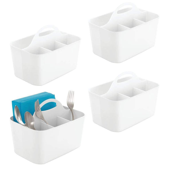 mDesign Plastic Cutlery Storage Organizer Caddy Bin - Tote with Handle - Kitchen Cabinet or Pantry - Basket Organizer for Forks, Knives, Spoons, Napkins - Indoor or Outdoor Use - 4 Pack, White