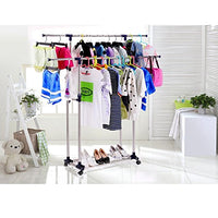 Allywit Commercial Grade Garment Rack Rolling Collapsible Rack Hanger Holder Duty Double Rail Clothes Rack Extensible Clothes Hanging Rack 2 Omni-Directional casters with Brake (Silver)