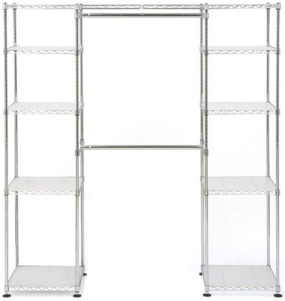 Amazon best seville classics 14 deep heavy duty steel wire expandable closet organizer bedroom space saving free standing cloth rack adjustable height of shelves hanging rods and width 10 years limited warranty