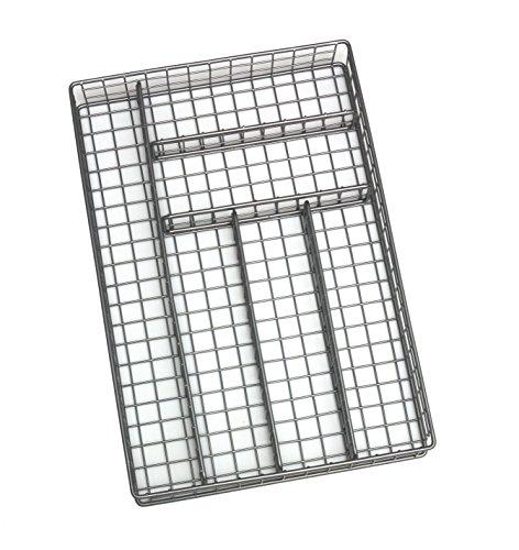 "Lipper International 8168 Flatware Organizer, 6 Compartments, Metal Wire, 10-3/4"" x 15-3/4"" x 2-1/8"", Silver"