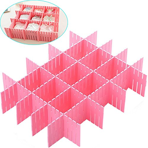 ZZ Lighting 8 Pcs Plastic DIY Grid Drawer Divider Finishing Shelves for Home Tidy Closet Makeup Socks Underwear Kitchenware Pink
