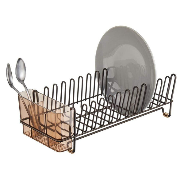 mDesign Compact Modern Kitchen Countertop, Sink Dish Drying Rack, Removable Cutlery Tray - Drain and Dry Wine Glasses, Bowls and Dishes - Metal Wire Drainer in Bronze with Amber Brown Caddy