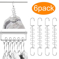 MeetU Closet Organizer 9.5 Inch Cloth Hanger Magic Space Saving Hangers for Closet Wardrobe Closet Organization Closet System (Pack of 6)