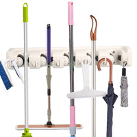 Storage mop broom holder wall mounted storage rack with 5 ball slots and 6 hooks for closet rakes broom garden garage tool storageoff wihite