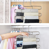 Heavy duty syidinzn pants hangers rack holder stand shelf organizer stainless steel s shape multi purpose hangers storage rack for clothes pants jeans trousers scarfs ties towels closet