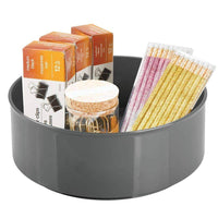 Top rated mdesign deep plastic spinning lazy susan turntable storage container for desktop drawer closet rotating organizer for home office supplies erasers colored pencils 2 pack charcoal gray