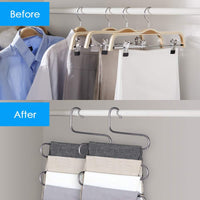 FFHL Pants Hangers S Type,5 Layers Non Slip with Silicone Stainless Steel Rack, for Dress,Jeans, Slacks, Towels, Scarfs, Ties Multi Clothes Cascading, 80% Space Saver,(14.17 x 14.96ins)(4 Pack)