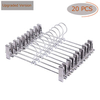 [Upgraded Version] Pants Hanger, 20pcs Stainless Steel Trouser Hangers with Clips 360 Degree Swivel Hook Space Saving Metal Hangers for Skirts, Pants, Slacks, Jeans, and More