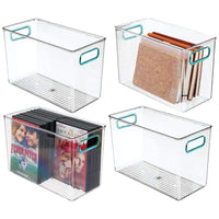 Online shopping mdesign plastic home storage organizer bin for cube furniture shelving in office entryway closet cabinet bedroom laundry room nursery kids toy room 12 x 6 x 7 75 4 pack clear blue
