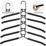 On amazon pupouse multi layers clothes hangers 5 in 1 anti slip sponge metal clothes rack multifunctional closet hanger space saving organizer for jacket coat sweater skirt trousers shirt t shirt