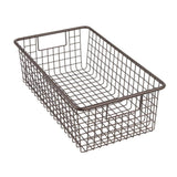 Selection mdesign modern farmhouse metal wire storage organizer bin basket with handles for kitchen cabinets pantry closets bedrooms bathrooms 16 25 long 4 pack bronze