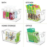 Budget mdesign plastic storage organizer holder bin box with handles for cube furniture shelving organization for closet kids bedroom bathroom home office 10 x 6 x 6 high 8 pack clear