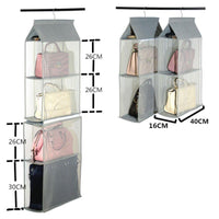 Discover detachable 4 big compartment pouch hanging handbag organizer clear purse bag storage holder wardrobe closet space saving organizers system for living room bedroom usepack of 2 grey