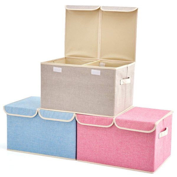 Large Storage Boxes [3-Pack] EZOWare Large Linen Fabric Foldable Storage Cubes Bin Box Containers with Lid and Handles for Nursery, Closet, Kids Room, Toys, Baby Products (Beige)