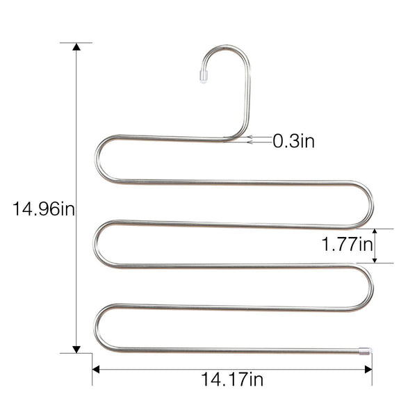 Best seller  doiown pants hangers s shape stainless steel clothes hangers space saving hangers closet organizer for pants jeans scarf5 layers 10pcs 1