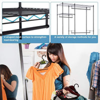 Budget hanging closet organizer and storage heavy duty clothes rack sturdy 3 rod garment rack large with wire shelving height adjustable commercial grade metal clothes stand rack for bedroom cloakroom black