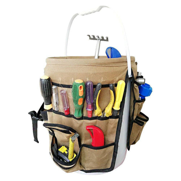 New garden caddy bucket tool organizer waterproof waxed canvas tool bag heavy duty multi purpose bucket tool bag holds all little tools for garden yard perfect for gardener or fishing enthusiast cytb01