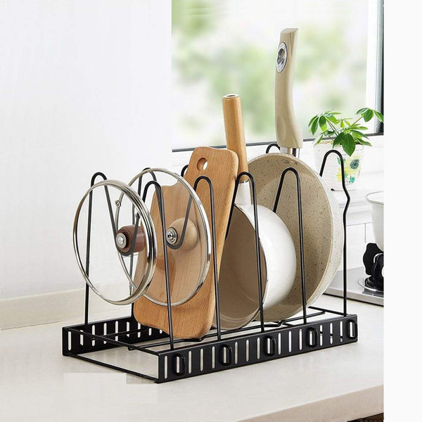 Pot Holder Cabinet 5 Adjustable Compartments Pan Kitchen Cookware Pan Pot Lid Organizer Rack Holder