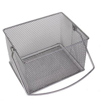 YBM Home Mesh Wire Food Storage Organizer Bin Basket with Handle for Kitchen Pantry, Cabinets, Bathroom, Laundry Room, Closets, Garage - Rectangle Metal Farmhouse Mesh Basket, 1 Unit