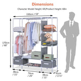 Shop for portable clothes closet canvas wardrobe closet huge free standing clothes organizer storage with hanging rod dust proof cover 67x58x17 7 inch