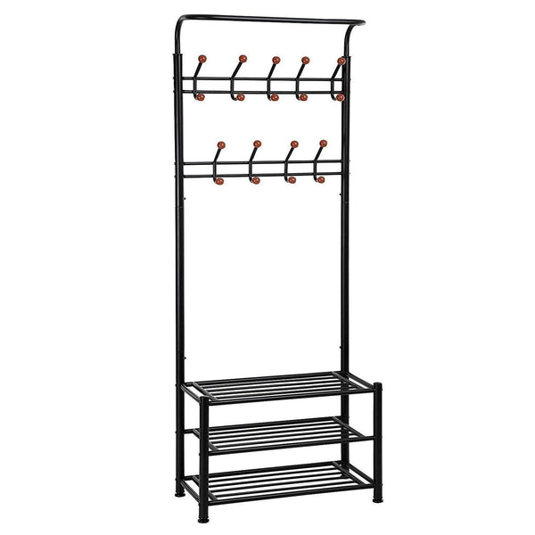 Budget finefurniture entryway coat and shoe rack with 18 hooks and 3 tier shelves fashion garment rack bag clothes umbrella and hat rack with hanger bar