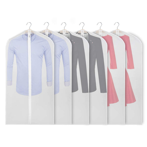Zilink Garment Bags for Storage 48 inch Dust-Proof Suit Cover with Sturdy Zipper (Set of 6) for Dress Coats Jackets Sweater Closet Storage