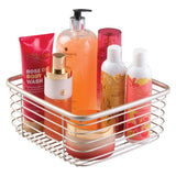 Purchase mdesign modern bathroom metal wire metal storage organizer bins baskets for vanity towels cabinets shelves closets pantry kitchens home office 9 75 square 4 pack satin