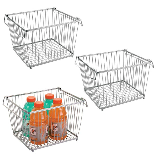 mDesign Household Stackable Wire Storage Organizer Bin Basket with Built-In Handles for Kitchen Cabinets, Pantry, Closets, Bedrooms, Bathrooms � Large, Pack of 3, Steel in Durable Silver Finish
