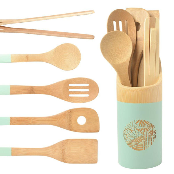 Organic 6 Piece Bamboo Cooking & Serving Utensils Set | Kitchen Accessories Kit In Colorful Utensil Holder | Spoon & Spatula & Salad Tong Mix | Space-Saving Wood Kitchen Gadgets Set | By laboos