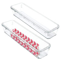 "mDesign Kitchen Interlocking Drawer Organizers for Wooden Spoons, Spatulas, Whisks - Pack of 2, 3"" x 12"" x 2"", Clear"