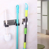 LtrottedJ Wall Mounted Mop Organizer Holder ,Brush Broom Hanger Storage Rack Kitchen Tool (Black)