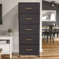 Discover the crestlive products vertical dresser storage tower sturdy steel frame wood top easy pull fabric bins wood handles organizer unit for bedroom hallway entryway closets 5 drawers brown