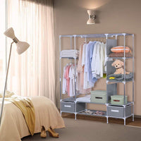 Select nice portable clothes closet canvas wardrobe closet huge free standing clothes organizer storage with hanging rod dust proof cover 67x58x17 7 inch