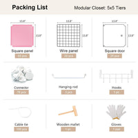 Save yozo modular closet cloth storage organizer portable kids wardrobe chest of drawer ube shelving unit multifunction toy cabinet bookshelf diy furniture pink 25 cubes